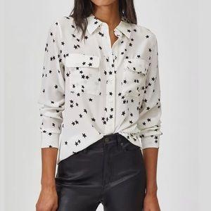 Equipment Silk White & Black Stars shirt, Medium
